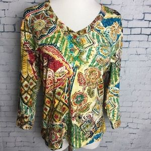 Chicos Size 1 Fall Colors Women's V Neck 3/4 Sleev